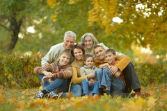 Happy family in autumn forest Stock Images