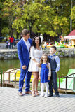Happy family in autumn park. Young happy family in autumn park Stock Photography