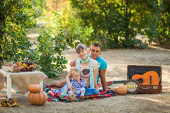 Happy family at autumn picnic Royalty Free Stock Images