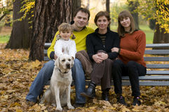 Happy family  at autumn time Stock Photography