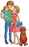 Happy family with a baby and dog. Royalty Free Stock Photography