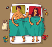 Happy family baby lie in bad. Color vector illustration. EPS8 Stock Image