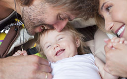 Happy family baby parents Stock Photography