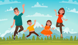 Happy family on a background of mountain scenery. Dad, Mom son a. Nd daughter are jumping on the lawn. Vector illustration in cartoon style Stock Photography