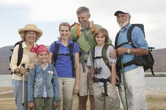 Happy Family With Backpacks royalty free stock photos