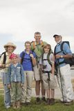 Happy Family With Backpacks Stock Image
