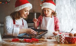 Happy family bake christmas cookies Royalty Free Stock Photography