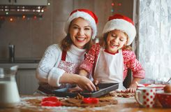 Happy family bake christmas cookies Royalty Free Stock Image
