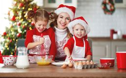 Happy family bake christmas cookies stock image