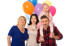 Happy family with balloons Royalty Free Stock Photography