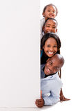 Happy family with a banner Royalty Free Stock Image