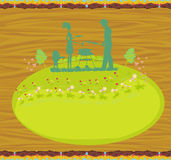 Happy family with barbecue - abstract card. Illustration Royalty Free Stock Photo