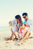 Happy Family at the Beach Stock Photography