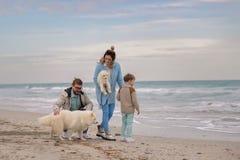 Happy family on a beach. royalty free stock image