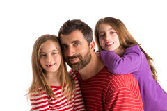 Happy family beard father and two daughters Stock Image