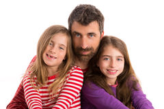 Happy family beard father and two daughters Royalty Free Stock Images
