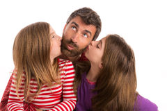 Happy family beard father and two daughters Stock Photo