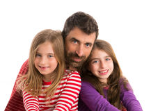 Happy family beard father and two daughters Stock Photos