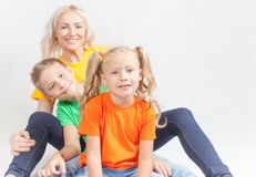 Happy family with beautiful mother and her children Stock Images