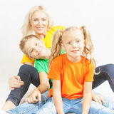 Happy family with beautiful mother and her children Royalty Free Stock Photos