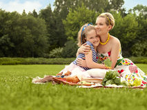 Happy family. Beautiful woman and young girl smiling. Mother day Royalty Free Stock Photography