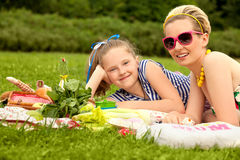 Happy family. Beautiful woman and young girl smiling. Mother day Stock Photography