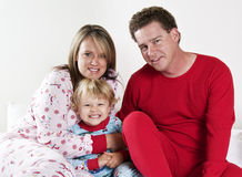 Happy Family at bedtime Stock Photo