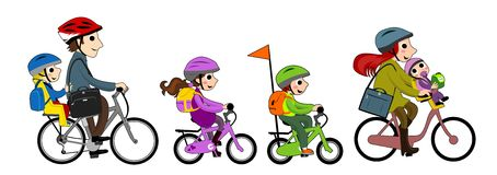 Happy Family in bicycle Stock Photos