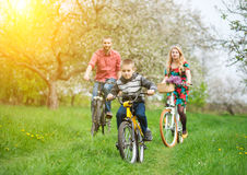 Happy family on a bicycles in the spring garden. Happy boy on a bicycle in front of and behind its parent in the spring blooming garden riding bikes. Family Stock Photo