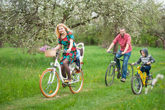 Happy family on a bicycles in the spring garden Royalty Free Stock Photos