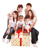 Happy family with big gift box. Royalty Free Stock Photography