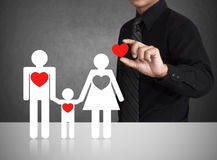 Happy family and big red hearts Royalty Free Stock Images