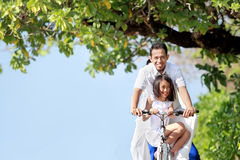 Happy family with bikes Royalty Free Stock Images