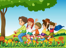 A happy family biking stock illustration