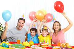 Happy family and birthday Stock Photos