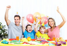 Happy family and birthday Stock Photo