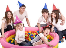 Happy family, birthday of children. Royalty Free Stock Photo