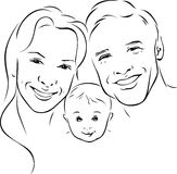 Happy family - black outline illustration Royalty Free Stock Image