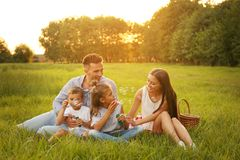Free Happy Family Blowing Soap Bubbles In Park. Summer Picnic Royalty Free Stock Photos - 158785558