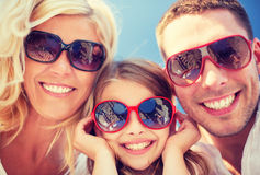 Happy family with blue sky Stock Photography