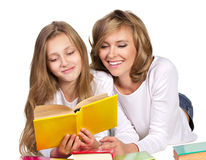 Happy family with books Royalty Free Stock Images