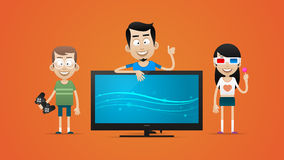 Happy family bought new plasma television Royalty Free Stock Photography