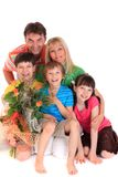 Happy family with bouquet Stock Photos