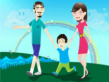 Family / illustration. Happy family with young boy taking a walk in the park in a beautiful sunny day Stock Photography