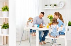 Happy family  at breakfast Stock Image