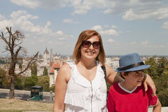 Happy family   in Budapest Stock Image