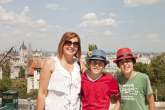 Happy family   in Budapest Stock Photos