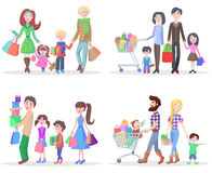 Happy Family Buying Goods and Gifts in Stores Royalty Free Stock Image