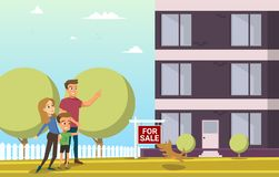 Happy Family Buying New House Flat Vector Concept stock illustration