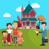 Happy Family Buying a New House. Real Estate Agent with Keys from House. Vector Stock Images
